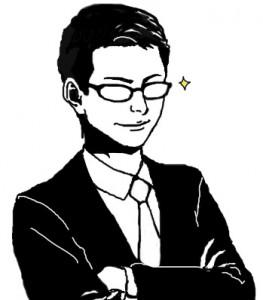 男性 眼鏡 スーツ 短髪
